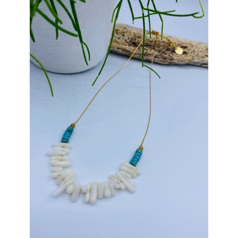 Collier HÄAY 2 turquoise blanc